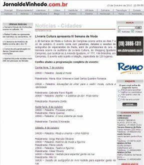 2010 Clipping III Semana de Moda e Cultura Jornal de Vinhedo (Out2010)