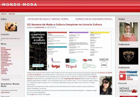 2010 Clipping III Semana de Moda e Cultura no blog MONDO MODA (Out2010)